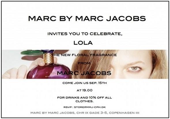 Marc by Marc Jacobs butikken i København inviterer til reception i  anledning af den nye Marc Jacobs parfume Lola. 736d41de6861